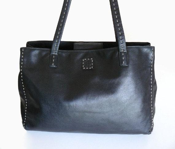 Authentic Ralph Lauren Black Leather Shoulder Bag Tote