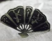 Sterling Pin, Fan shaped Pin, Niello, Siam,
