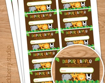 Safari Jungle Baby Shower Diaper Raffle Ticket - Instant Download - Gender Neutral Diaper Raffle Tickets - Baby Shower Games Printable