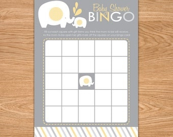 Elephant Baby Shower Bingo Game Printable -Yellow and Gray - Elephant Baby Shower Games - Instant Download - Baby Bingo - Bingo Cards