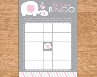 Girl Elephant Baby Shower Bingo Game Printable - Pink and Gray Baby Shower Game - Instant Download - Girl Baby Shower Games - Bingo Cards