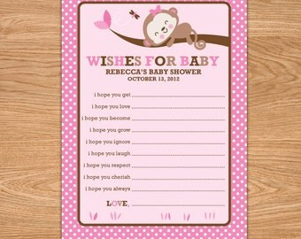 Girl Monkey Baby Shower Wishes for Baby Girl Printable - Brown Pink Baby Shower Advice Cards - Girl Baby Shower Well Wishes for Baby