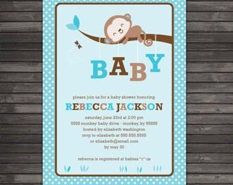 Boy Monkey Baby Shower Invitation - Boy Baby Shower Invitation - Blue Baby Shower Invitations - Blue Brown Jungle Safari Baby Shower Invite