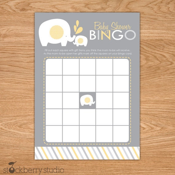 baby shower bingo game printable yellow and gray elephant baby