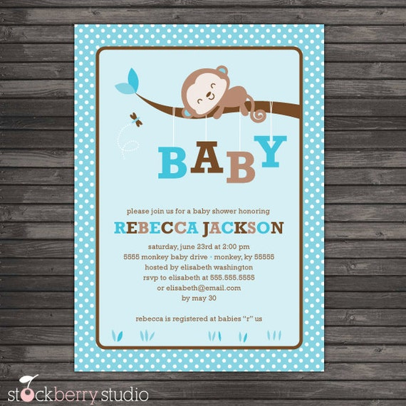 Boy monkey baby shower invitation blue monkey baby shower il570xn filmwisefo Image collections