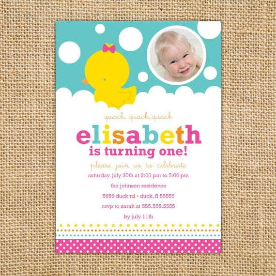 Girl Rubber Ducky Birthday Invitation Printable Girl First