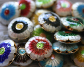 Spring Blossoms - 20 mm Floral Cloisonne beads (2)