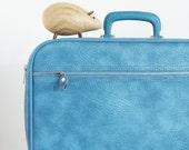 Little Baby Blue Suitcase Vintage Vinyl Sears Overnight Bag Travel Case Carry On Vegan Periwinkle Autumn Fall Eveteam