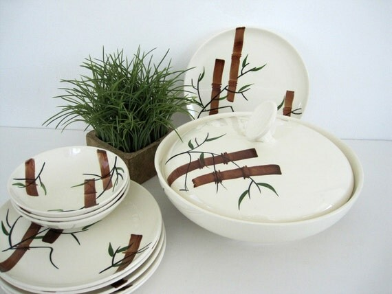 Vintage Bowl Plates Ceramic Covered Serving Bamboo American Heritage Mid Century