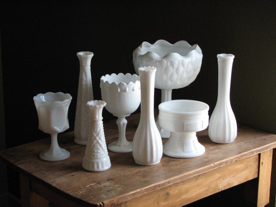 Collection of Eight Vintage Milk Glass Vases - White Wedding Table Display - Round Flower Holders