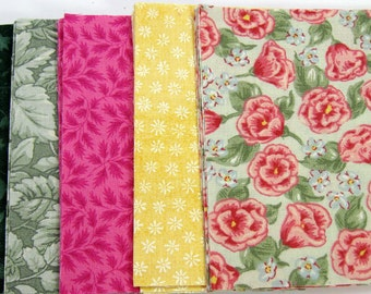Pink and Green Floral 36 - 4 inch Fabric Quilt  Squares