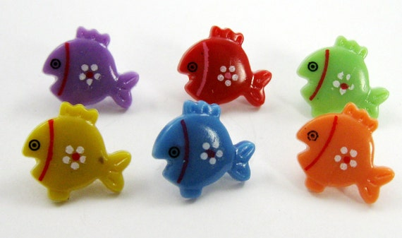 Fish Buttons Multicolored Set of Six