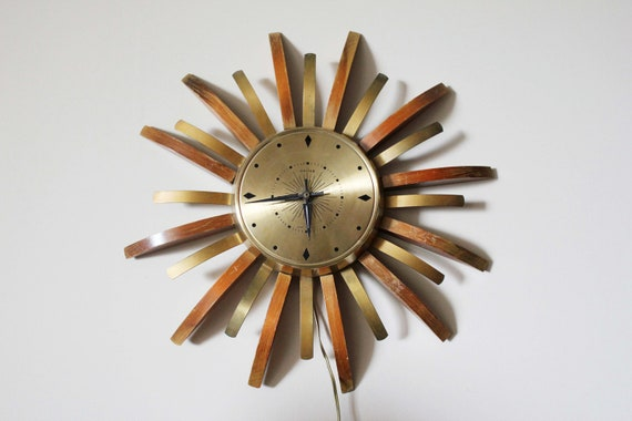 Starburst Electric United Wall Clock with Brass and Wood Atomic Spokes