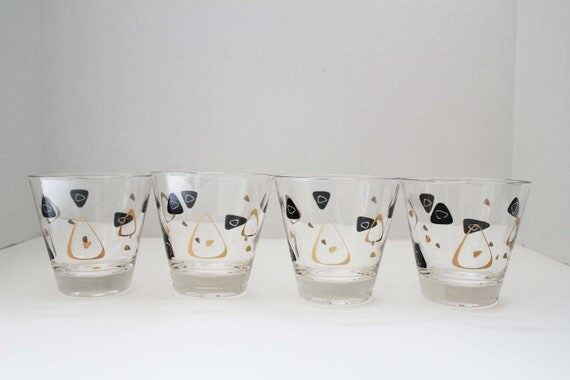 Atomic Era Boomerang Amoeba Whiskey Glasses - Mid Century Modern Retro Style in Black and Gold - Pair Only