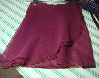 "Ballet Wrap Skirt, 13"" Adult, Glittered Wine"