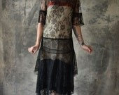 RESERVED: Shandy Flapper Dress 1920s Black Lace