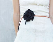 4 in 1 black and orange felted flower with cord: necklace, belt, bracelet and hair accessories rose beauty