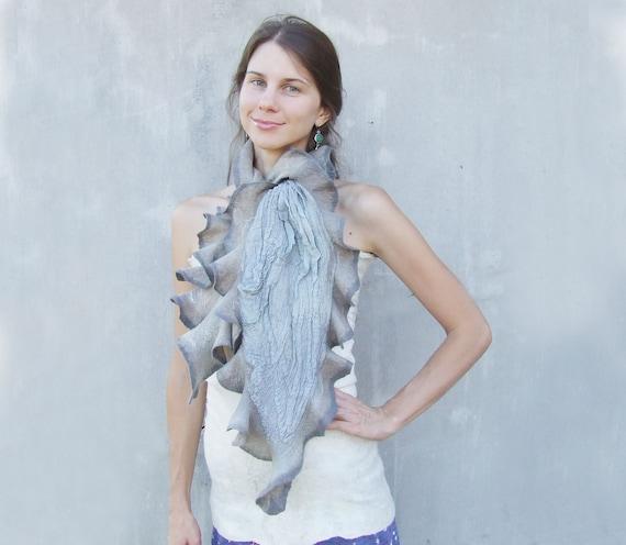 Ruffles grey scarf felting wool luxury nunofelting winter wedding bridesmaid idea for her fall autumn fashion