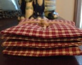 Primitive, Rustic, Americana Fabric Coaster Red and Cream Check Upcycled