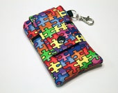 Custom fabric cell phone holder, iPhone 6 6s Plus, iPhone 7 plus, 5 5s 5c 4s 4 smartphone, wallet, case, purse, sleeve, pouch-Puzzled