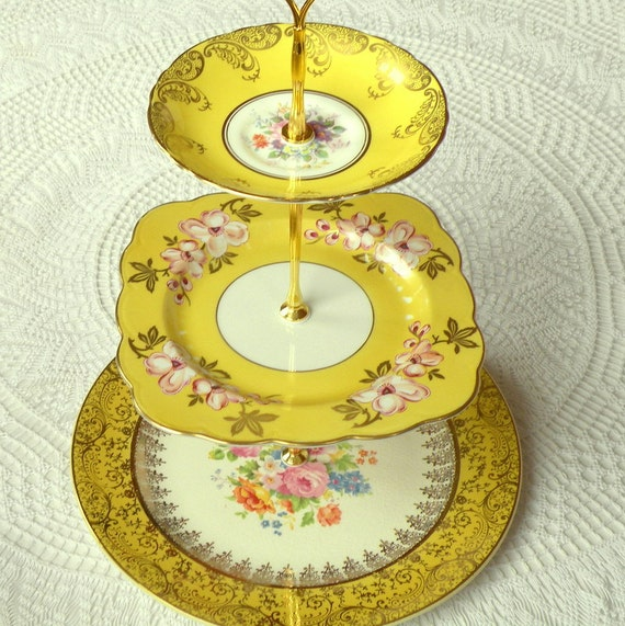 Alice Loves Summer, Sunshine Yellow Cupcake Stand of Vintage China, 3 Tier Display for Garden Wedding or High Tea Party Centerpiece