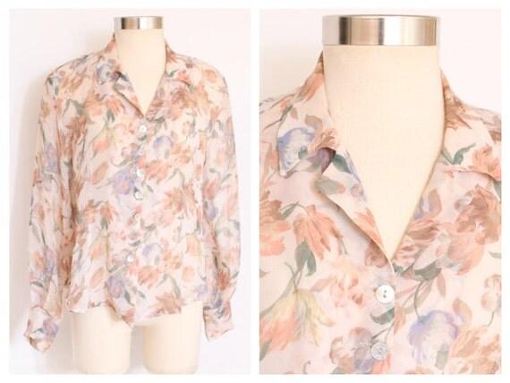 80s Floral Chiffon Blouse size M