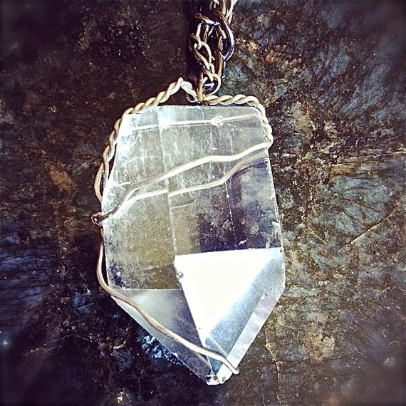 Large Hand Wrapped Crystal Quartz Necklace on Double Chain