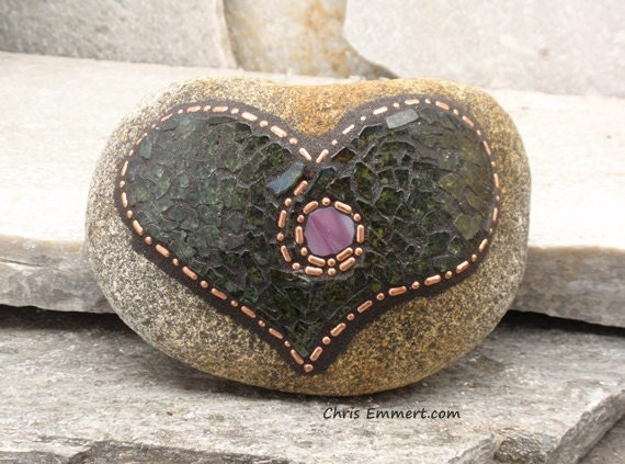 Chubby Heart Shaped Copper and Tempered Glass - Mosaic Rock Paperweight / Garden Stone