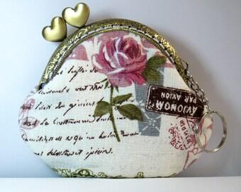 Kiss Lock Frame Women Bridesmaid Snap Purses Coin Purse Mini Wallet---Paris Memory Rose Flowers