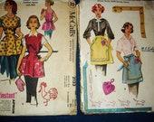 Lot of 2 Vintage 1950's Apron Patterns