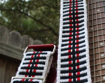 Adjustable Guitar Strap - Red, Black and White - Handwoven Ladder Patter