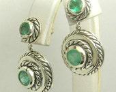 Designer Style! 3 tcw Colombian Emerald & Sterling Dangle Earrings