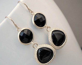 Black Dangle Earrings, Long Dangle Earring, Silver or Gold Teardrop Earrings,  Glass Round and Teardrop Onyx Black Earrings, Bridesmaid Gift