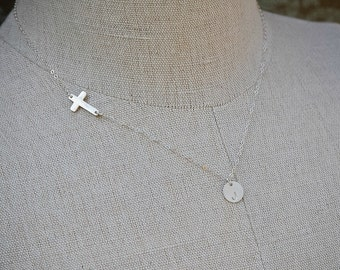 Sideways Cross Initial Necklace, Sterling Silver, Monogram Necklace, Initial Jewelry, Bridesmaids Jewelry, Cross Jewelry, Mother Necklace