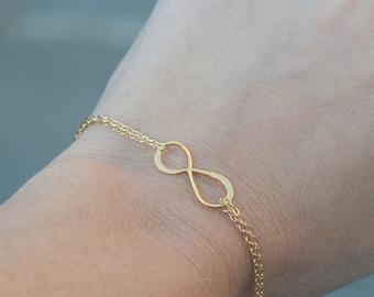 Infinity Bracelet, Vermeil and 14K Gold Fill Infinity Pendant, Everyday jewelry, Bridesmaid Jewelry, Dainty tiny Bracelet