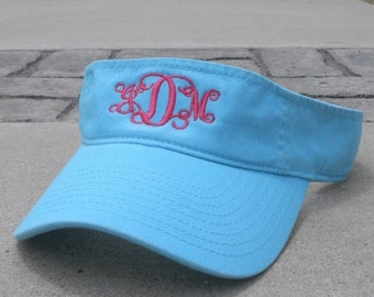 Personalized Monogrammed Sun Visor. MANY COLORS AVAILABLE. Aqua, White, Lime Green
