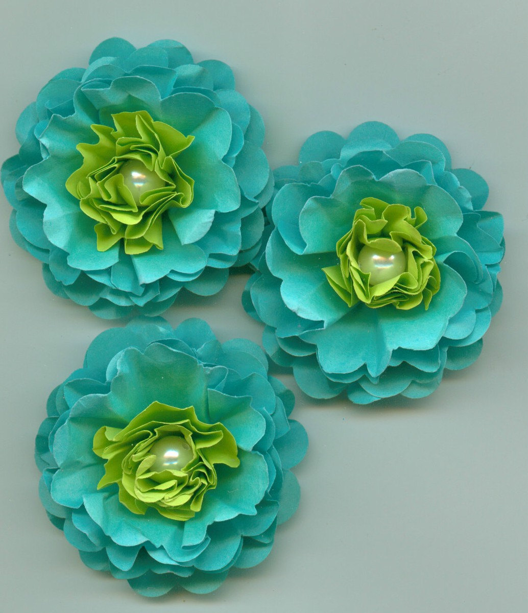 Aqua blue and lime green peony paper flowers tropical colors for Lime and blue
