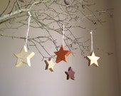 Antiqued Wood Stars Handpainted Decoration Salvaged Wood Farmhouse Country Cottage Decor Set of 4