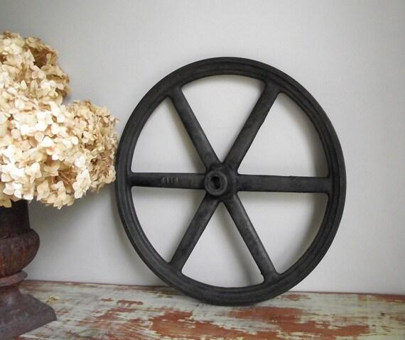 Cast iron pulley antique industrial v belt wheel farm
