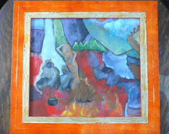 Contemporary Original Oil Painting by Pless with Hand Painted Frame