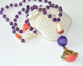 Vintage Pendant, Amethyst, Biwa Pearl, Mexican Fire Opal, Agate, Asymmetrically Necklace