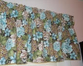 Choc green and teal floral Kent Shire Home valances