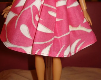 Fashion Doll Coordinates - Hot pink and white leaf print skirt - es18