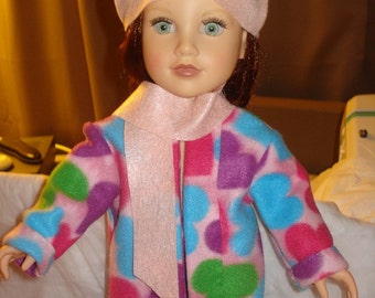 Fun pink and colorful heart Fleece coat, hat and scarf set for 18 inch Dolls - ag115