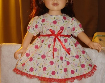 Handmade cherry candy print full dress with red lace for 18 inch Dolls - ag125