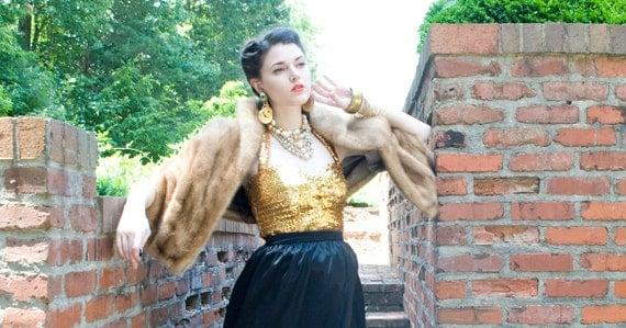 50s - Honey I'm Home - blonde brown  mink stole or wrap - size s m