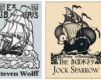 Ships Ahoy - Open Seas  or Open Waters -  Personalized Self-Adhesive Bookplate - Lovely Gift