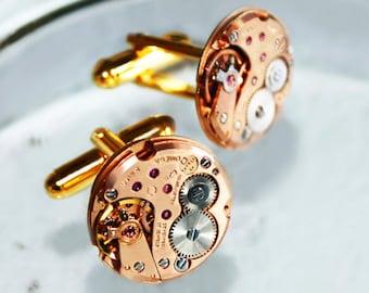 OMEGA Men Steampunk Cufflinks - RARE GENUINE Omega Luxury Swiss Vintage Watch Movement Men Steampunk Cufflinks / Cuff Links Men Wedding Gift