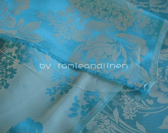 """silk fabric, floral jacquard weaved silk rayon blend fabric, Turquoise color, one yard by 44"""" wide"""