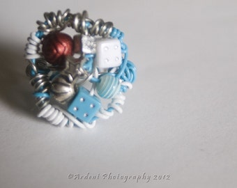 Funky Wire Art Magpie Nest Rings featuring light blue covered wire and unique ecclectic beads - Magpie RIngs - Art Jewelry by Sarah McTernen